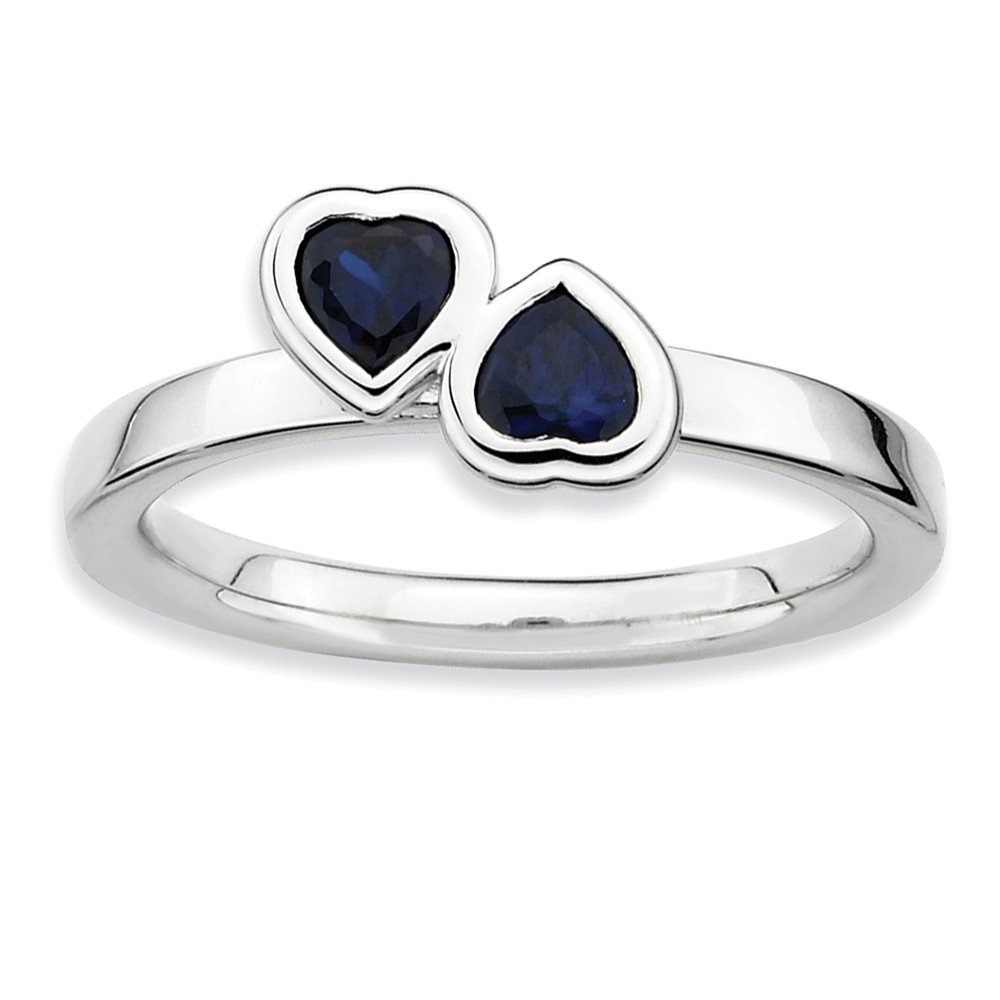Stackable | Sapphire | Sterling | Double | Silver | Heart | Size