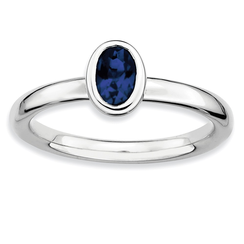 Solitaire | Stackable | Sapphire | Silver | Oval | Size
