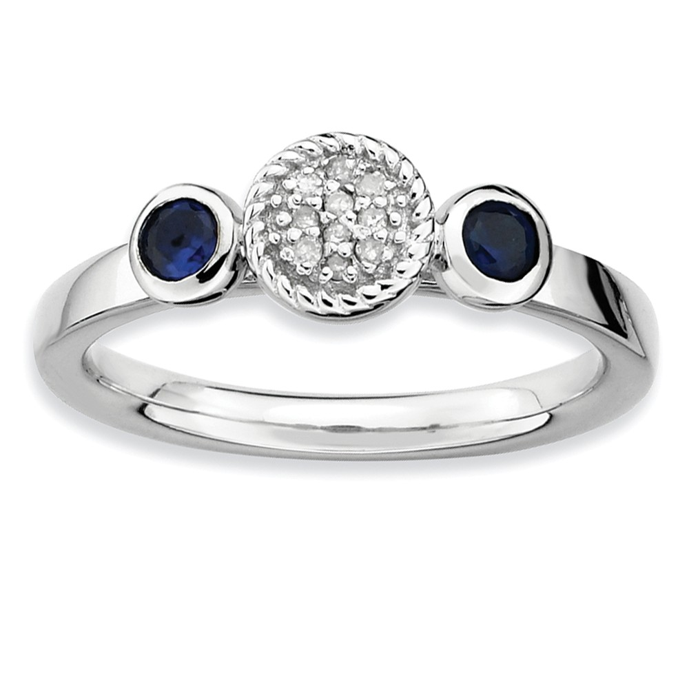 Stackable | Sapphire | Diamond | Silver | Ring | Size