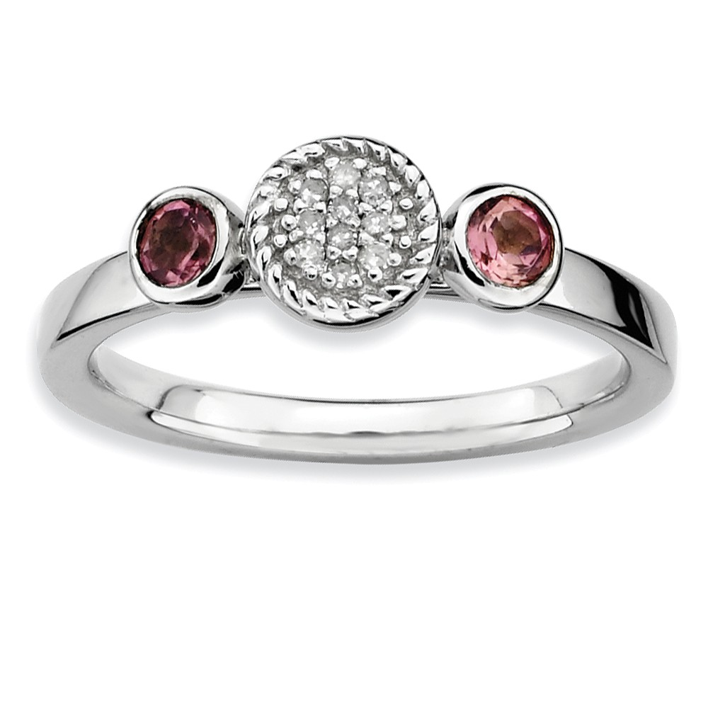 Silver Stackable Pink Tourmaline And .05 Ctw Hi/i3 Diamond Ring Sz 10