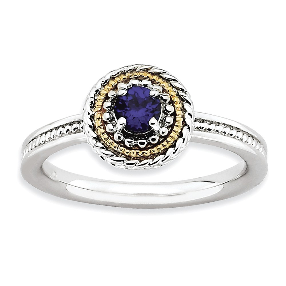 Sterling Silver & 14k Gold Plated Stackable Created Sapphire Ring Sz 7