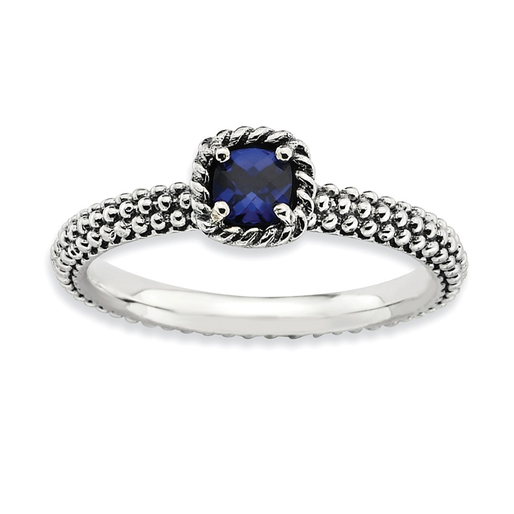 Stackable | Sapphire | Sterling | Antique | Silver | Size