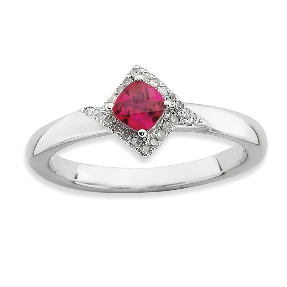 Stackable Created Ruby And 1/10 Ctw Hi/i3 Diamond Silver Ring Size 8