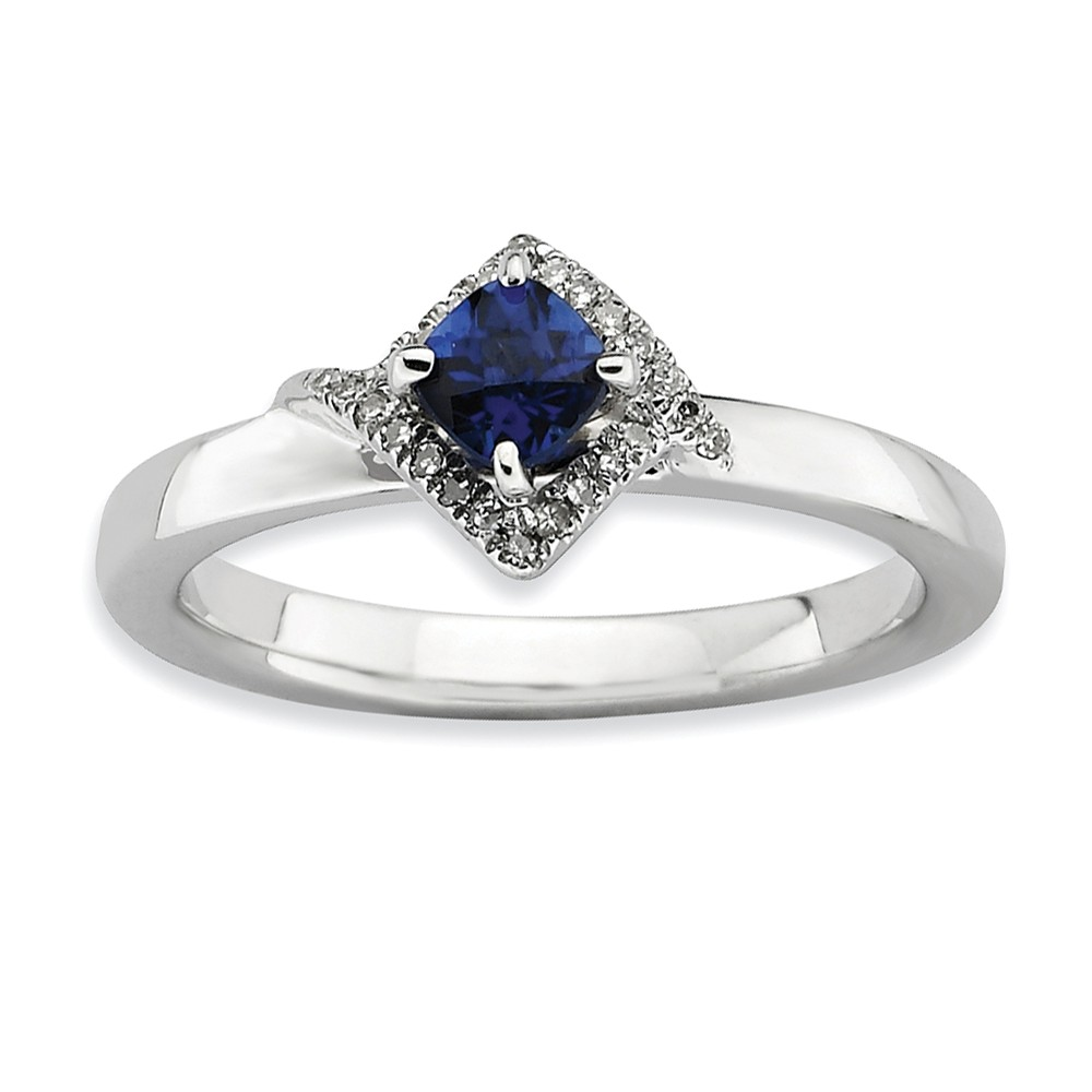 Stackable Created Sapphire And 1/10 Ctw Hi/i3 Diamond Silver Ring Sz 6