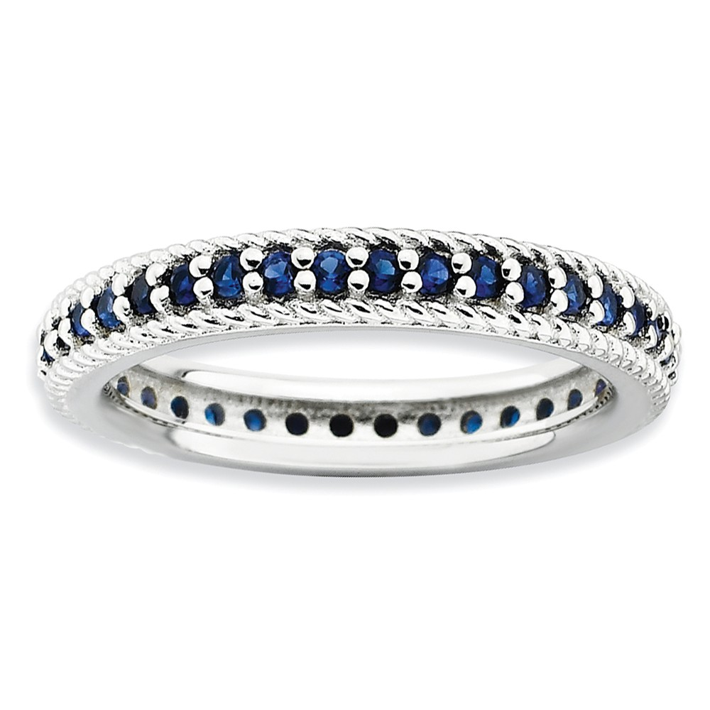 3.25mm Sterling Silver Stackable Created Sapphire Eternity Ring Size 8