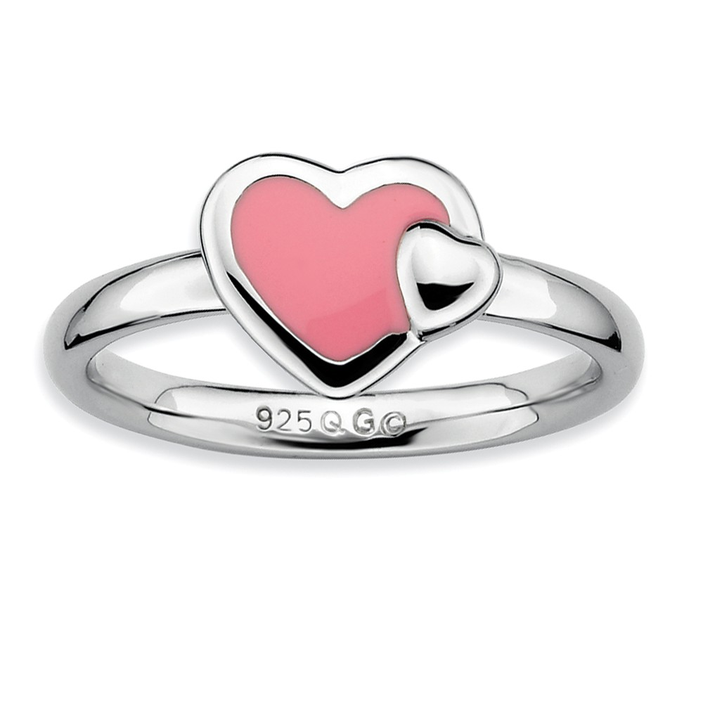 Sterling Silver Stackable Pink Enameled Heart Ring Size 8