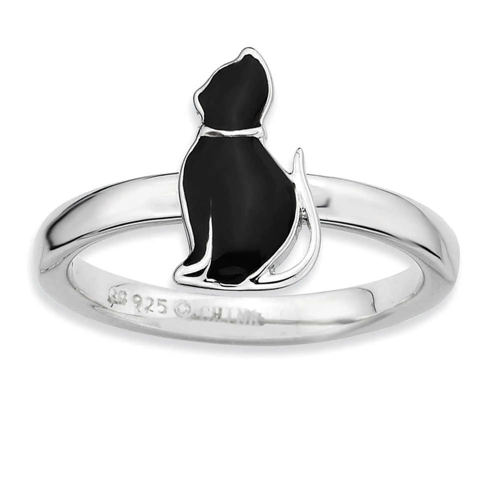 Sterling Silver Stackable Black Enameled Side Kitty Ring Size 5