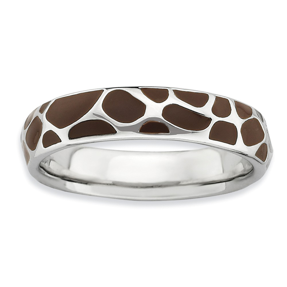4.5mm Silver And Enamel Stackable Animal Brown Print Band Size 7