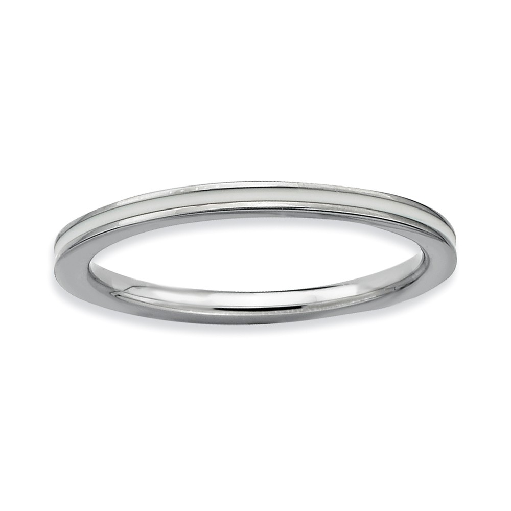 1.5mm Sterling Silver Stackable White Enameled Band Size 7