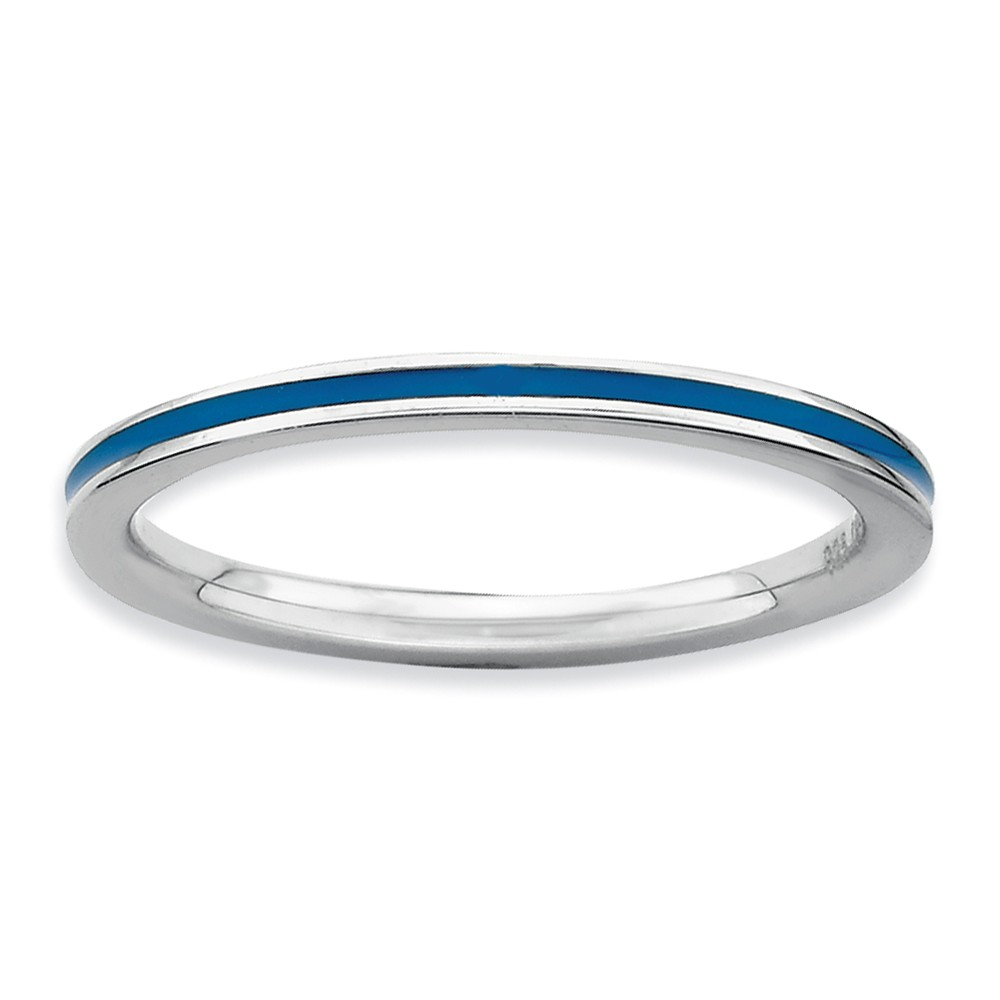 1.5mm Sterling Silver Stackable Blue Enameled Band Size 10