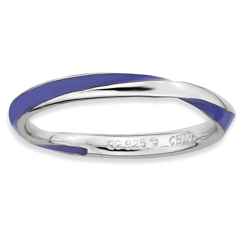 2.5mm Silver Twisted Purple Enameled Stackable Band Size 9