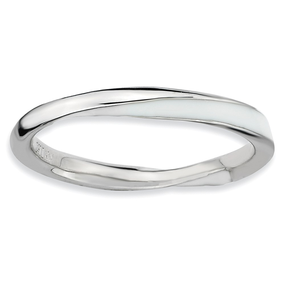 2.5mm Silver Twisted White Enameled Stackable Band Size 10