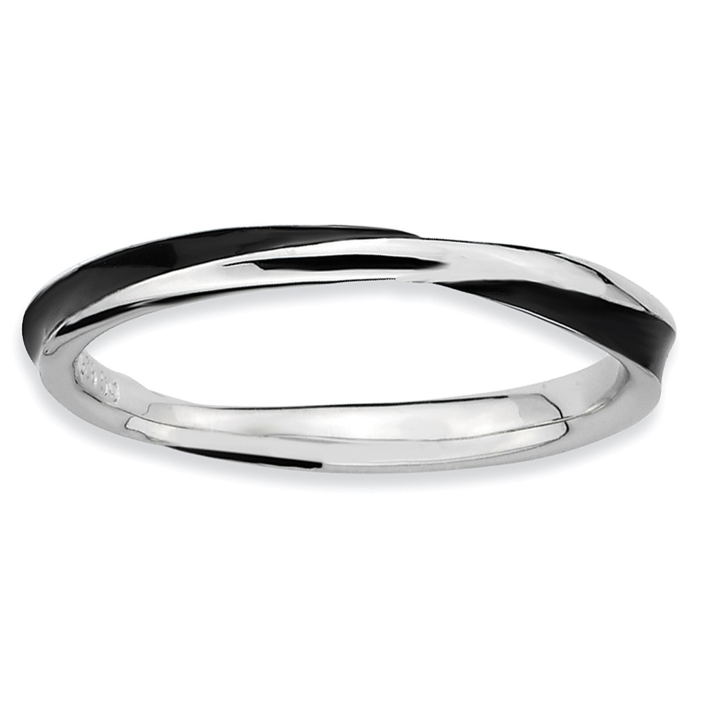 2.5mm Silver Twisted Black Enameled Stackable Band Size 7