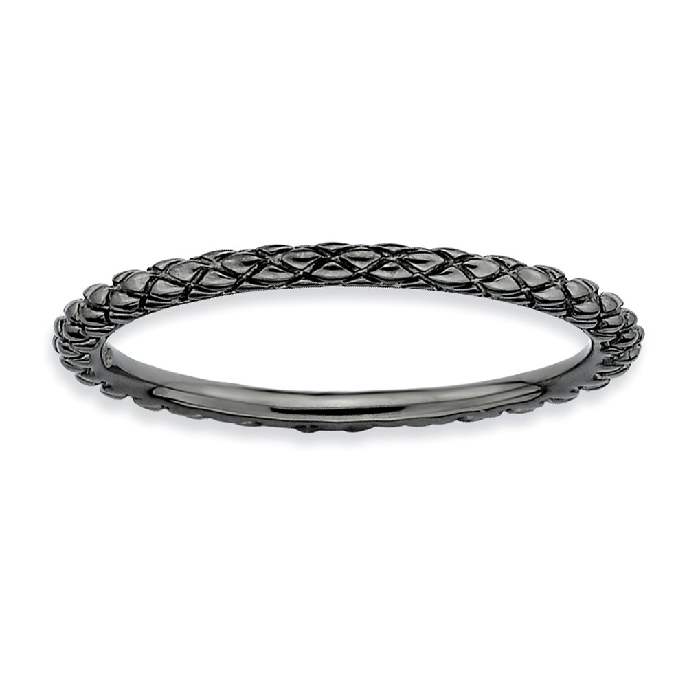 1.5mm Stackable Black Plated Silver Crisscross Band Size 10