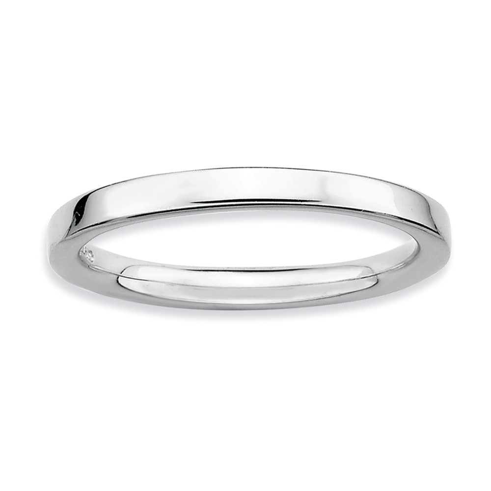 2.25mm Stackable Sterling Silver Semi Rounded Band Size 5