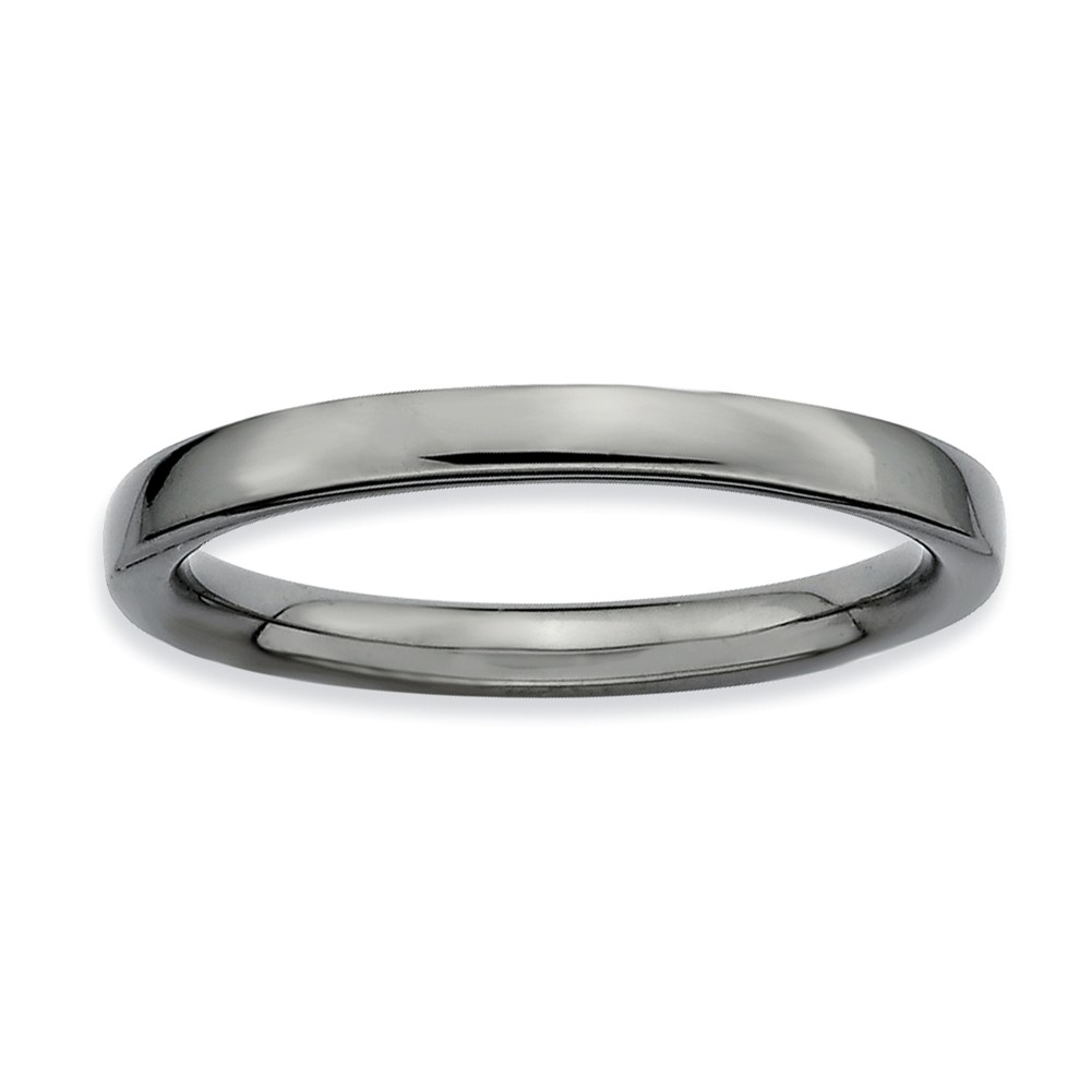 2.25mm Stackable Black Plated Silver Semi Rounded Band Size 5