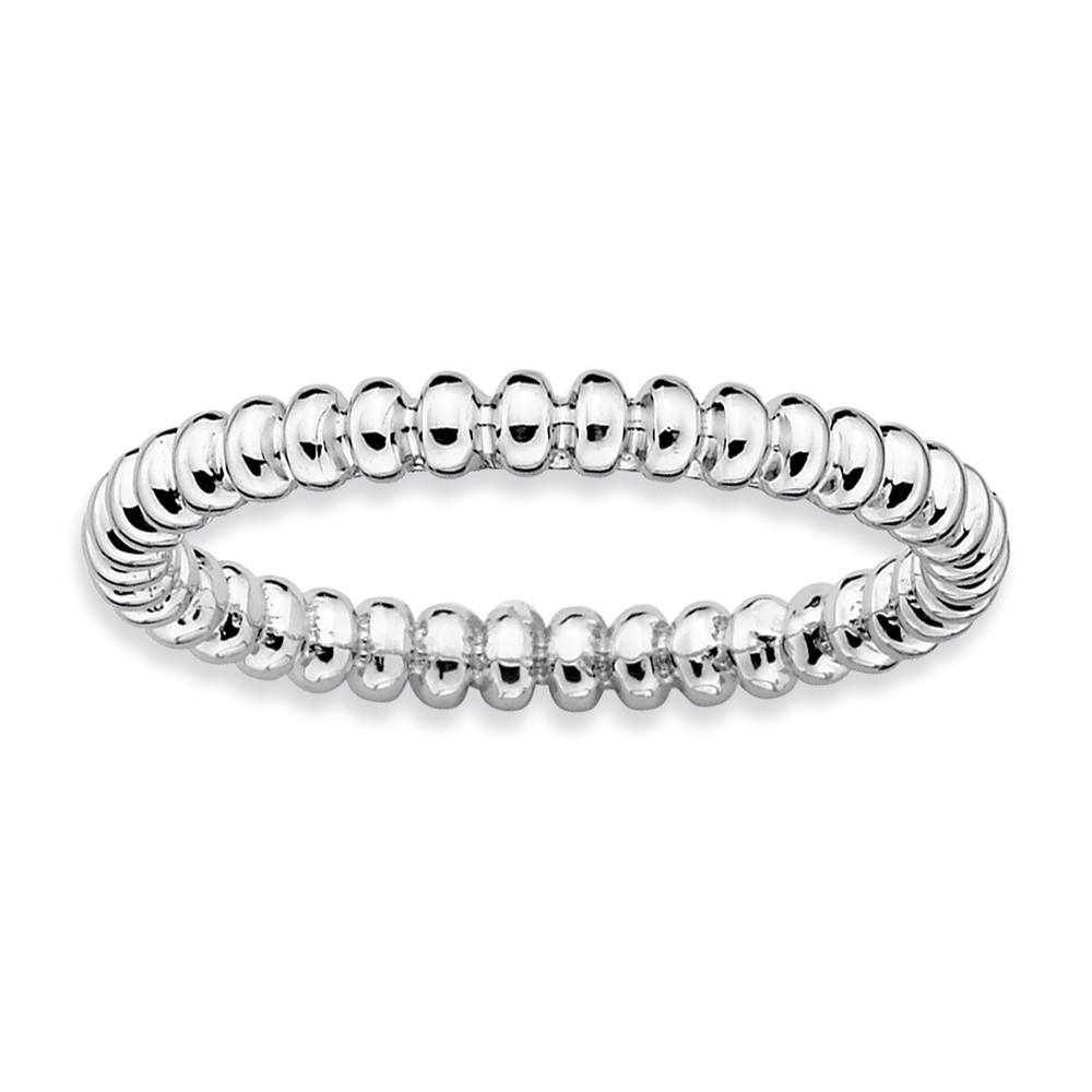 2.25mm Stackable Sterling Silver Beaded Band Size 10