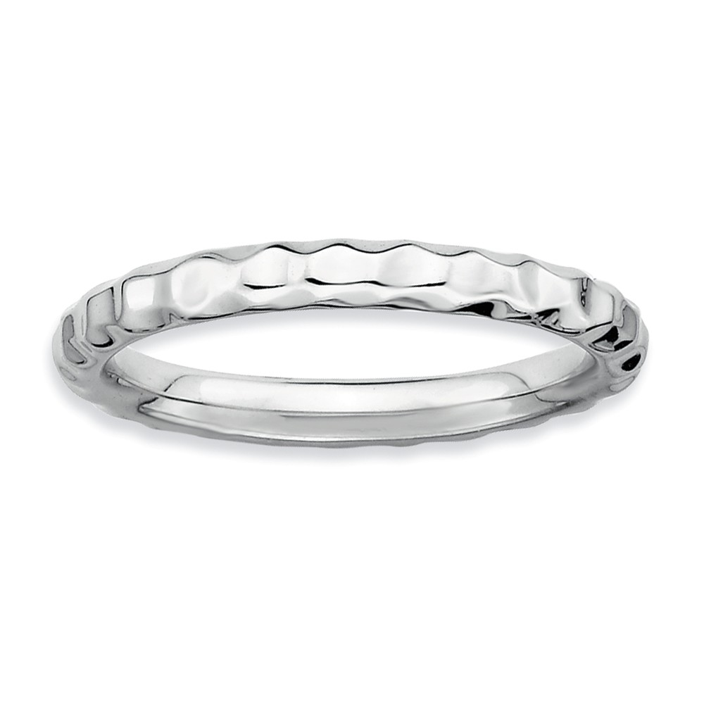 2.25mm Stackable Sterling Silver Hammered Band Size 10