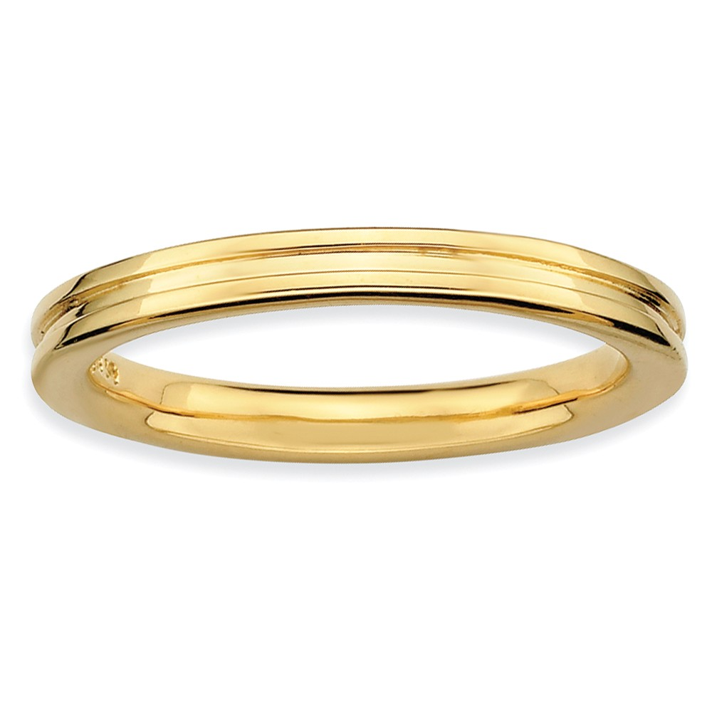 2.25mm Stackable 14k Yellow Gold Plated Silver Grooved Band Size 7