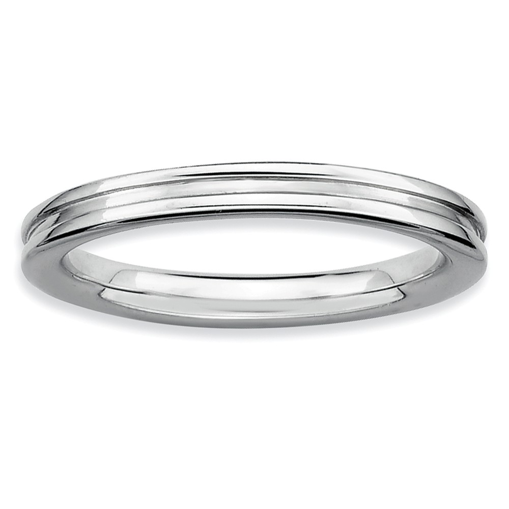 2.25mm Stackable Sterling Silver Grooved Band Size 6