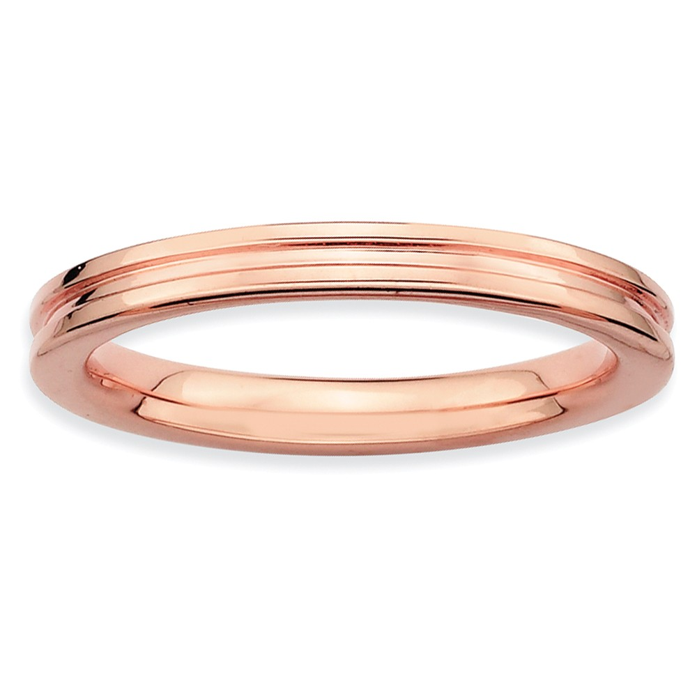 2.25mm Stackable 14k Rose Gold Plated Silver Grooved Band Size 10