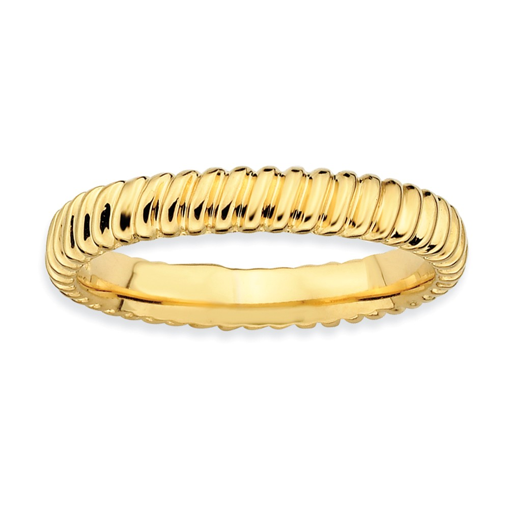 3.25mm Stackable 14k Yellow Gold Plated Silver Fluted Band Size 10