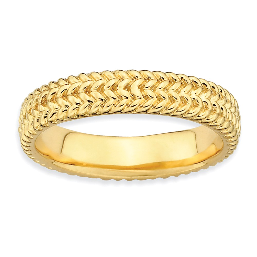 4.5mm Stackable 14k Yellow Gold Plated Silver Wheat Band Size 9