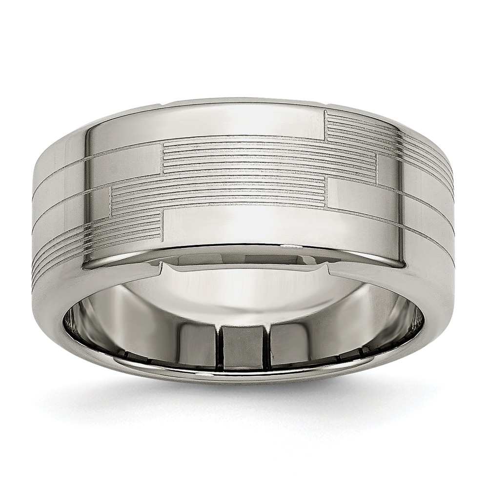 8mm Stainless Steel Textured Comfort Fit Band Size 9