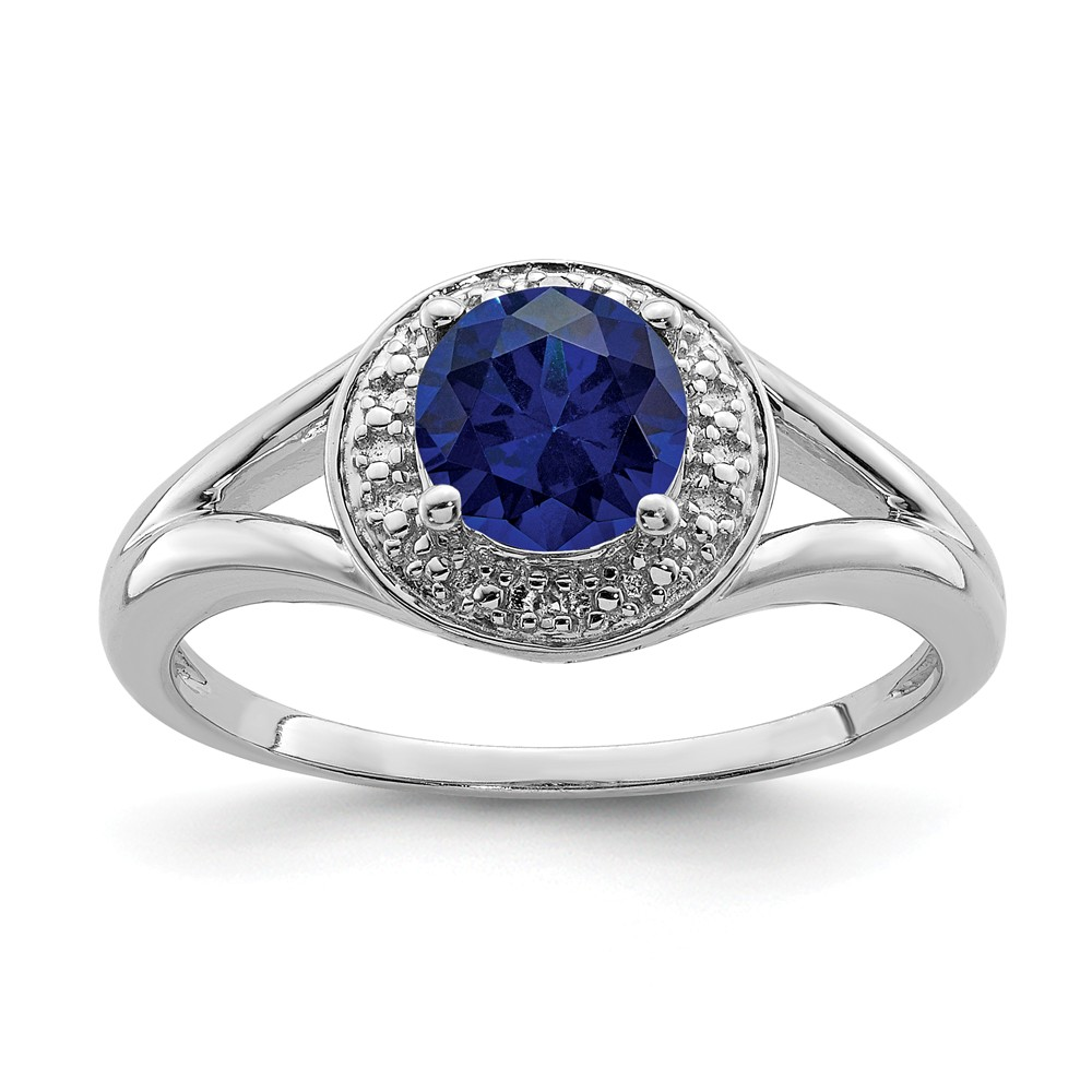 Sapphire | Sterling | Diamond | Silver | Round | Ring | Size