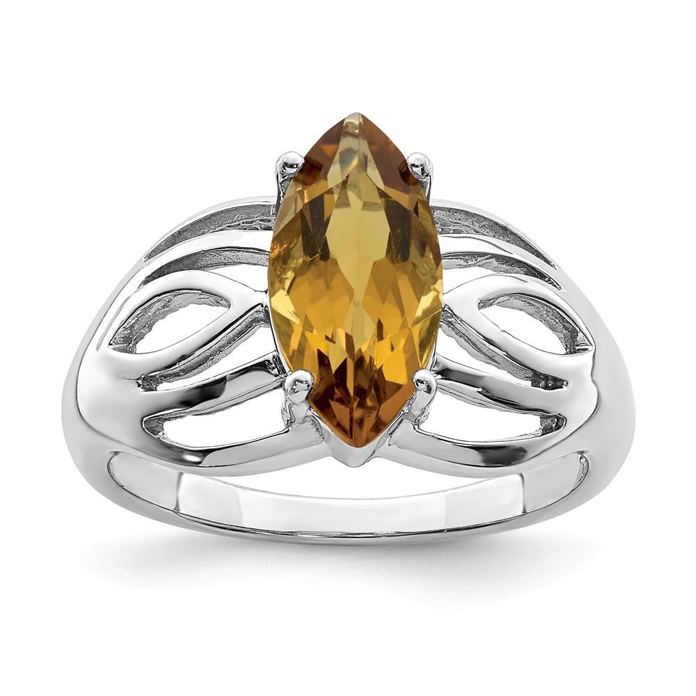 Sterling | Whiskey | Quartz | Silver | Ring | Size