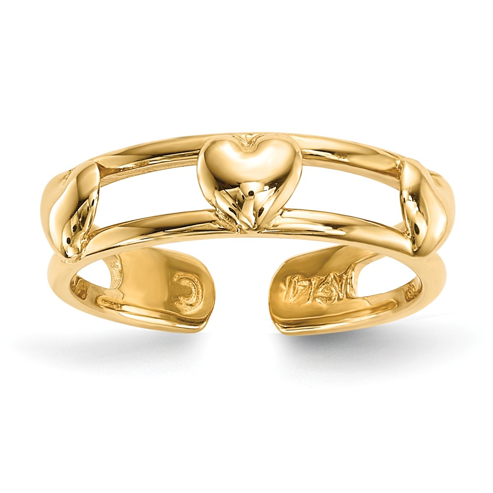 14k Yellow Gold 4mm Polished 3-Hearts Toe Ring