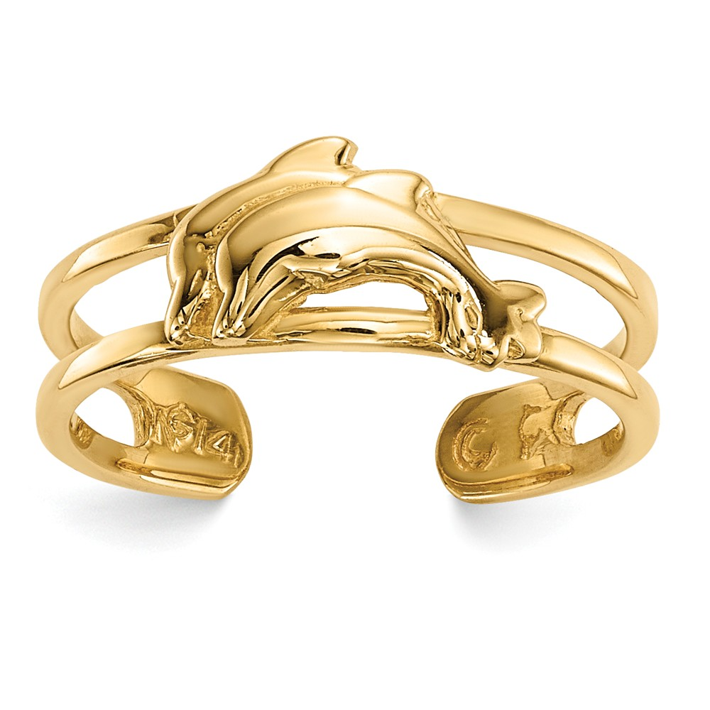 14k Yellow Gold 5.5mm Polished Double Dolphin Toe Ring