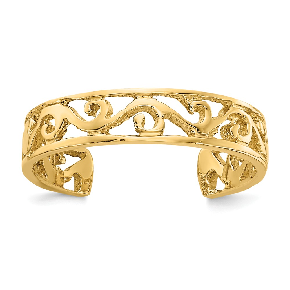 14k Yellow Gold 4mm Diamond-Cut Scroll Toe Ring