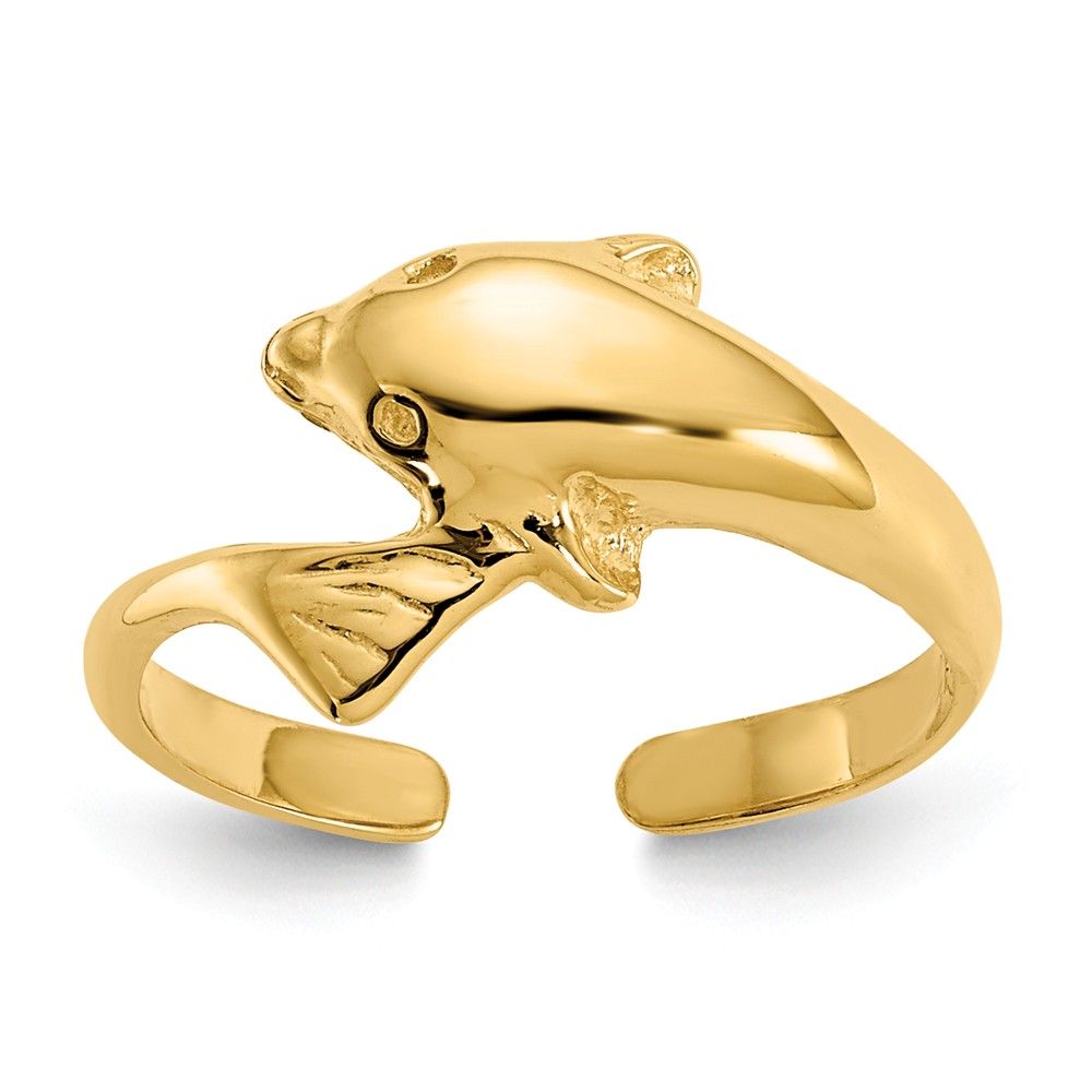 14k Yellow Gold 8mm Polished Dolphin Toe Ring