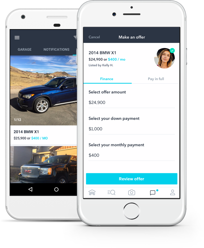 Blinker marketplace and make an offer screens