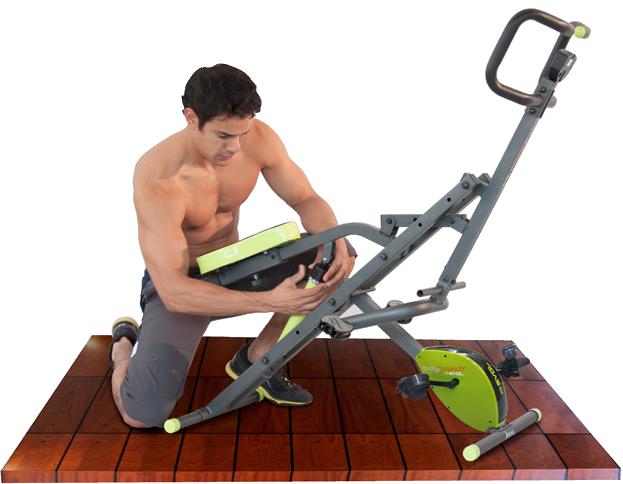 Hombre ajustando el pistón hidráulico de su Body Crunch Evolution.