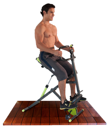 Hombre usando el Body Crunch Evolution con los dos pies en los pedales.