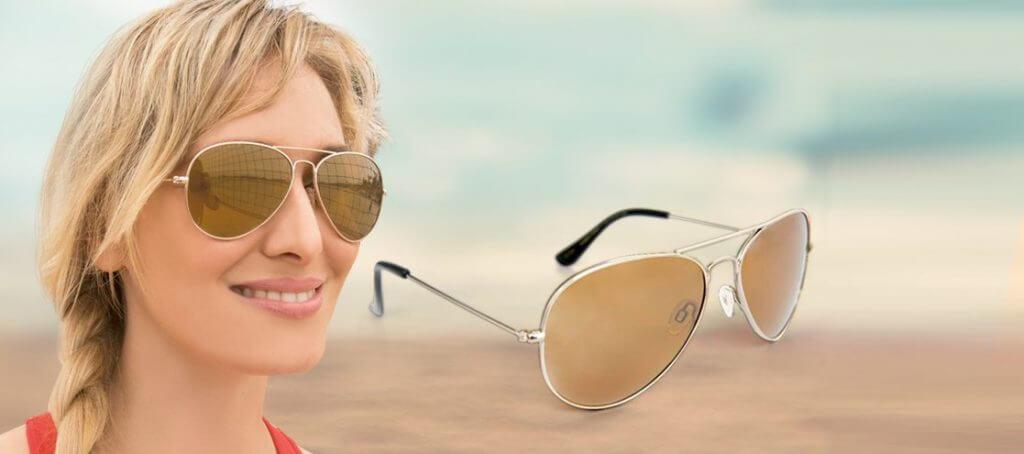 Mujer con lentes de sol Eagle Eyes