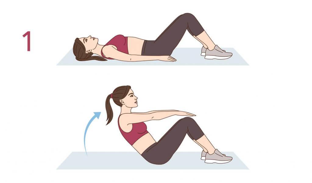 reducir el abdomen y cintura con abdominales