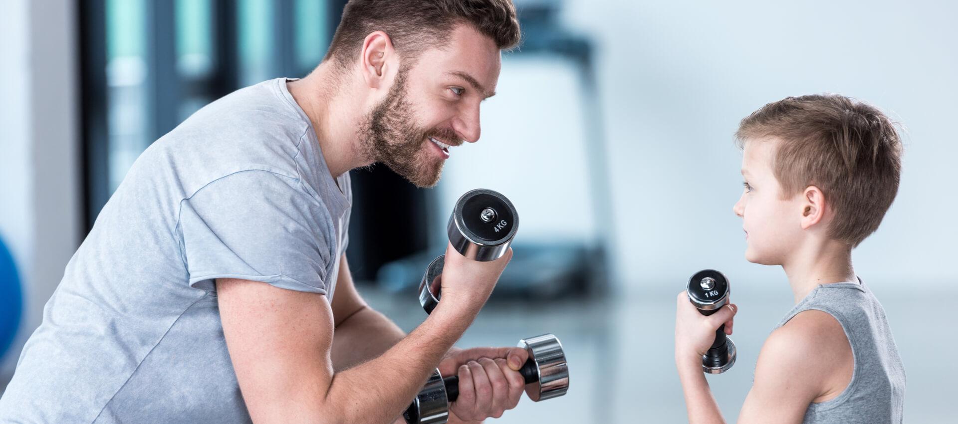 rutina de ejercicios con papá