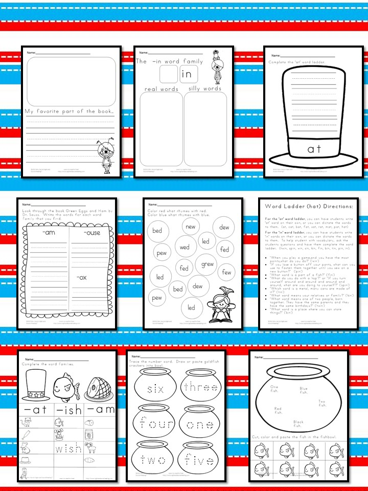 math worksheet : dr seuss worksheets inspired by dr seuss!  : Dr Seuss Kindergarten Worksheets