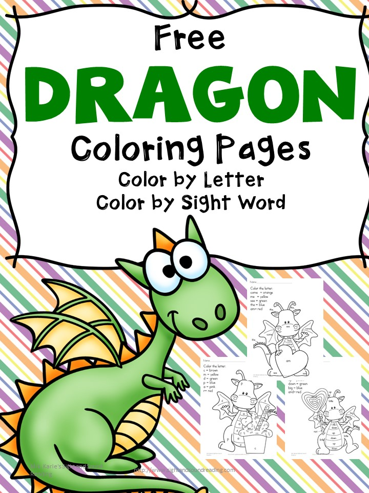 Free Printable Dragon Coloring Pages -color by letter/color by sight word coloring pages - fun, and educational!