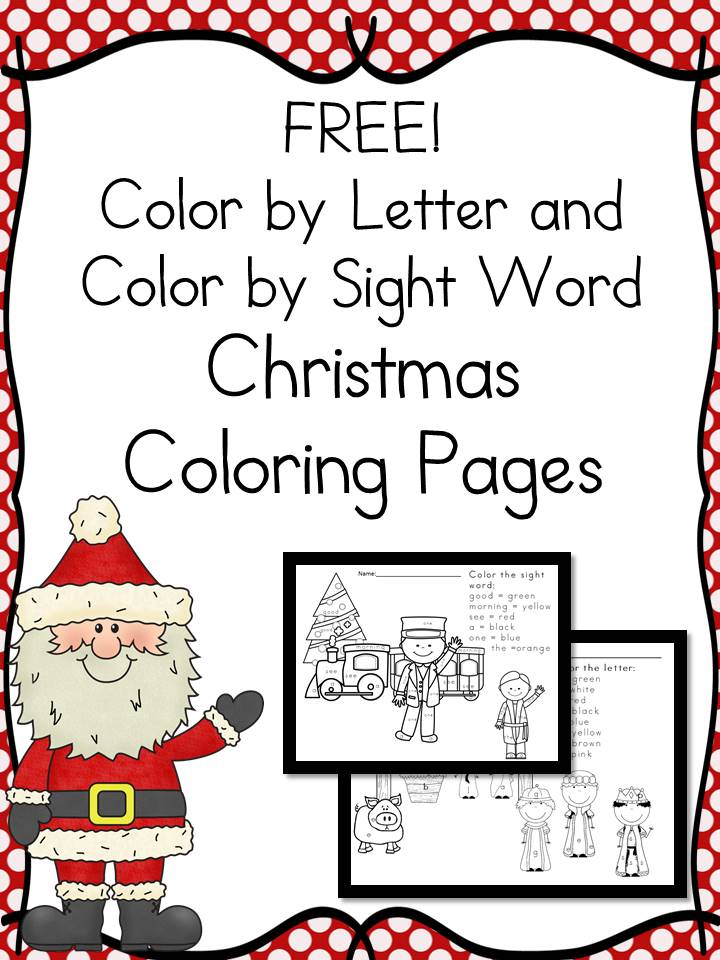 free color by the letter and color by sight word christmas coloring pages