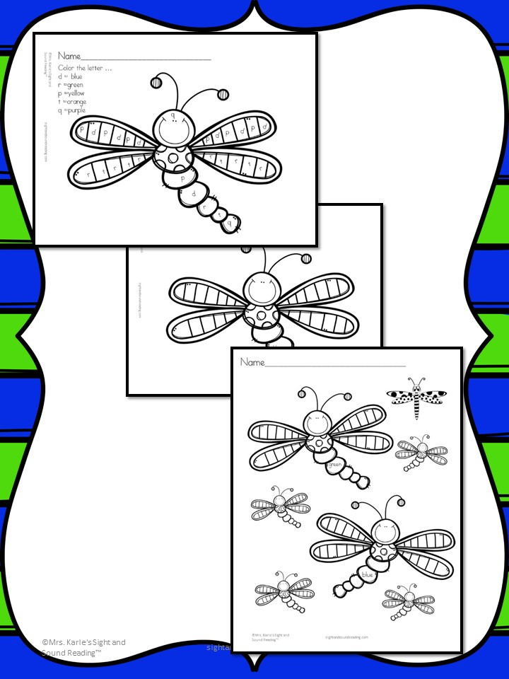Dragonfly Coloring Page: Cute, fun and free - including a color by letter coloring page!