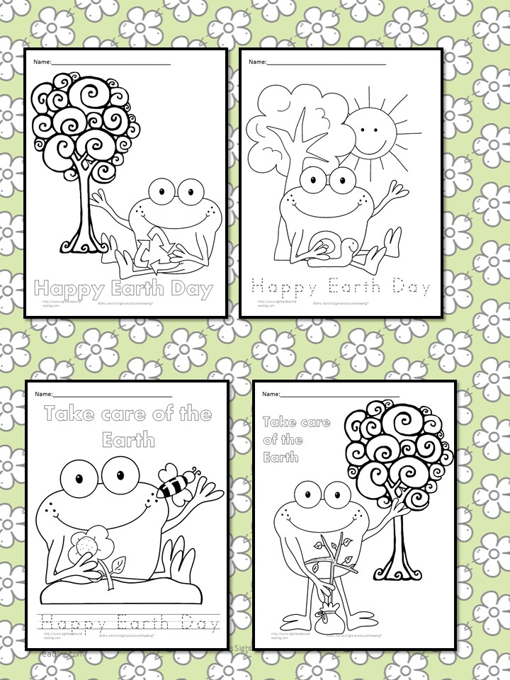 Here Is A Picture Of What Few The Earth Day Coloring Sheets Look Like There Some Writing On Each Page That Students Can Trace Or Color