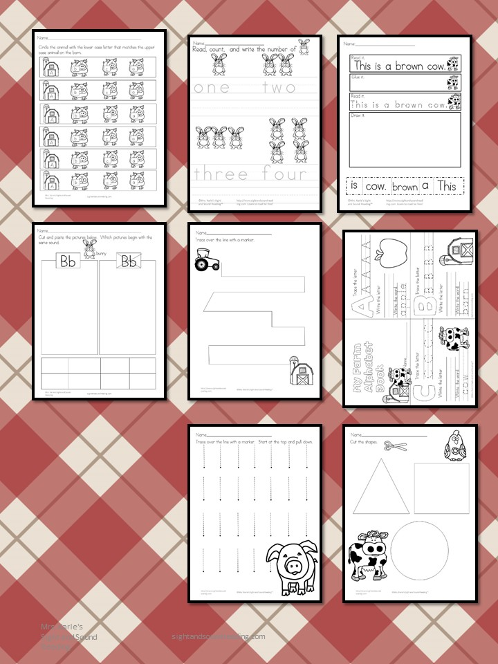 Cute, Fun and Free Farm Animals Worksheets for kids. Fun ideas to use for a preschool or kindergarten or homeschool classroom.