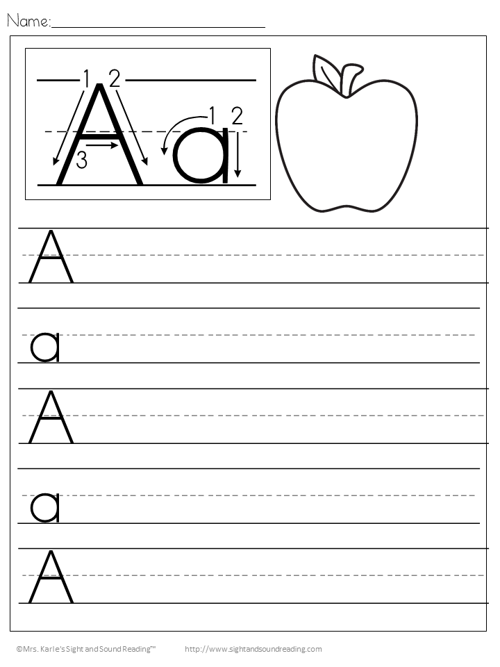 Handwriting pages for kindergarten