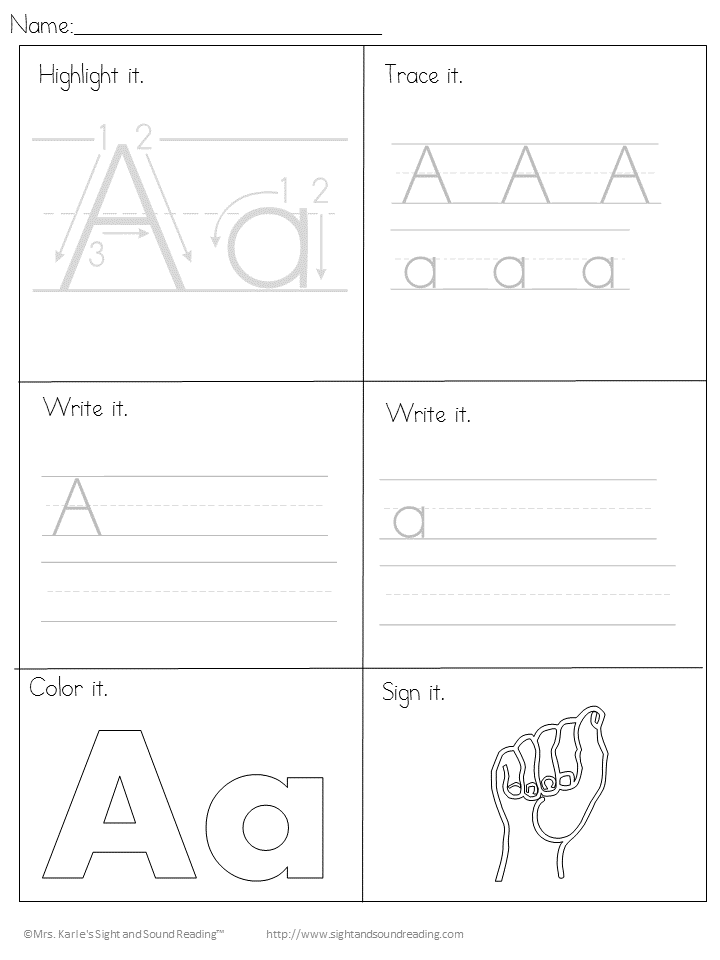 Printable Handwriting Worksheets for Kids