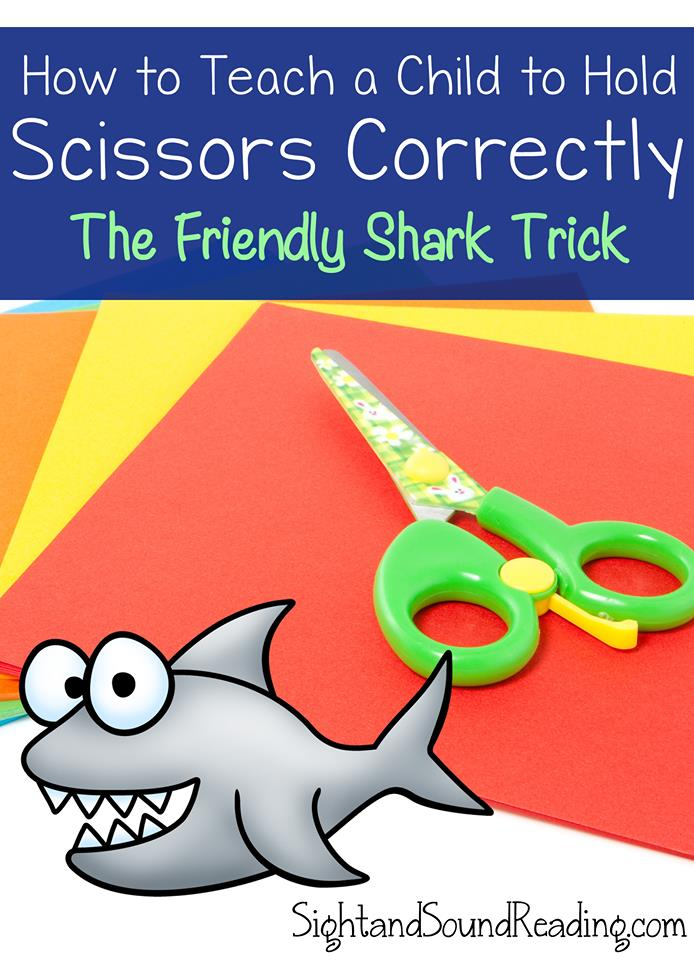 Want to know how to teach a child to hold scissors? Use the friendly shark method! Kids love this little trick to help them hold scissors.