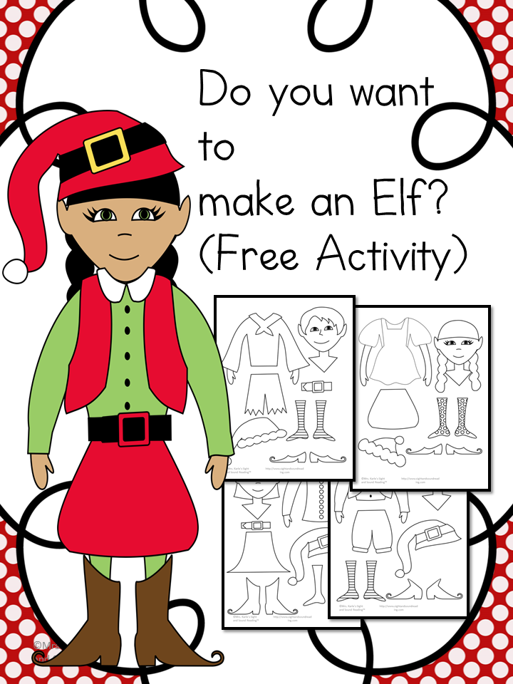 Do you want to make an elf? Free activity -great to practice coloring, cutting and pasting skills.